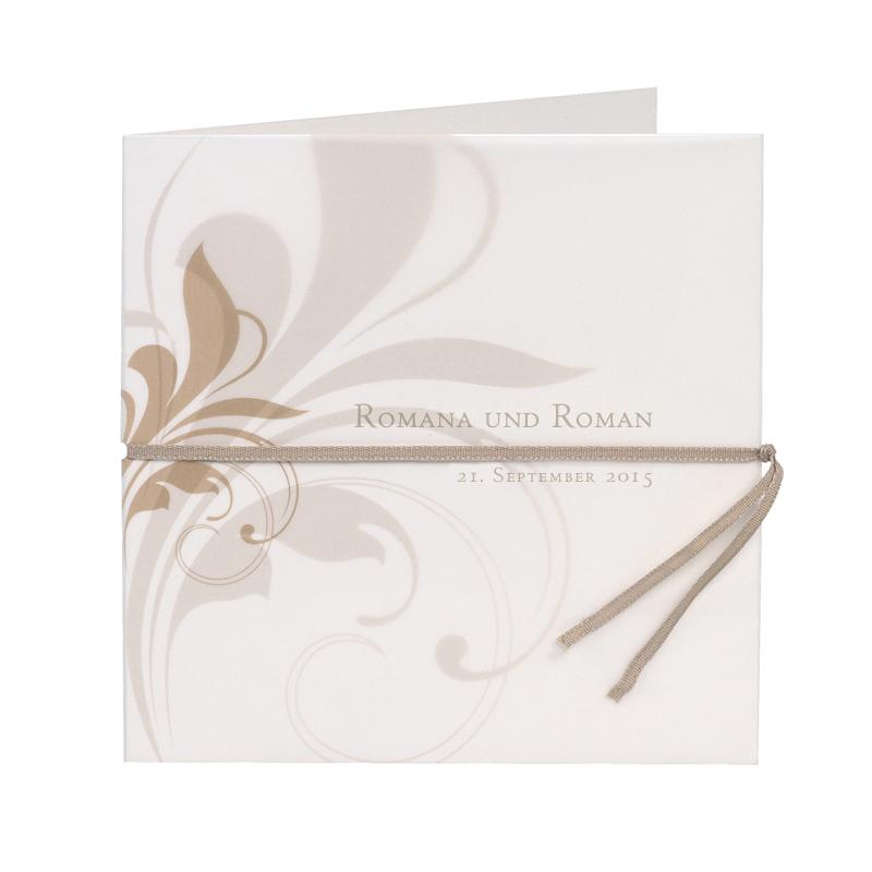 Bedruckte Hochzeitseinladung Mit Ranke In Pergamentpapier