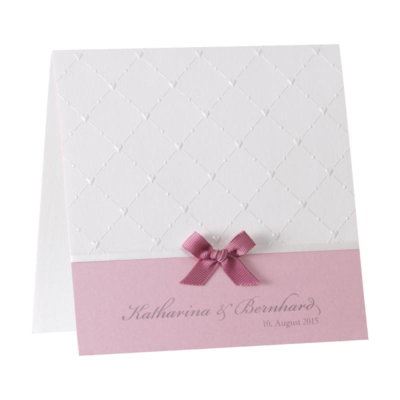 Rosa Hochzeitseinladungskarte Drucken Mit Herzpragung