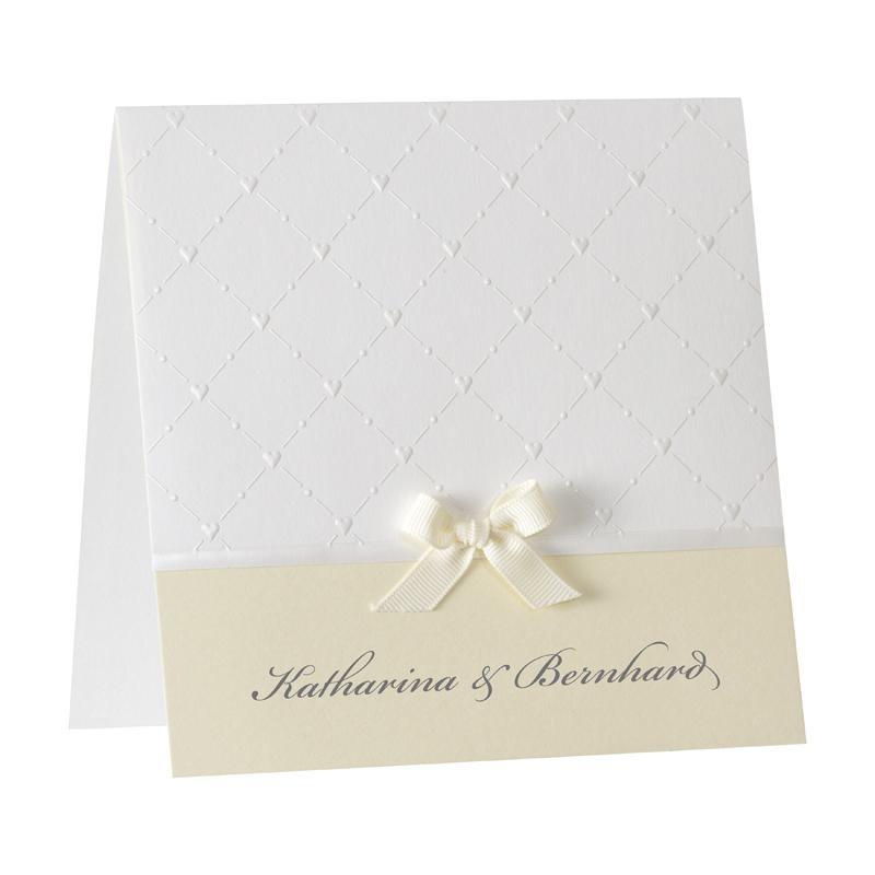 Gelbe Hochzeitseinladungskarte Drucken Mit Herzpragung