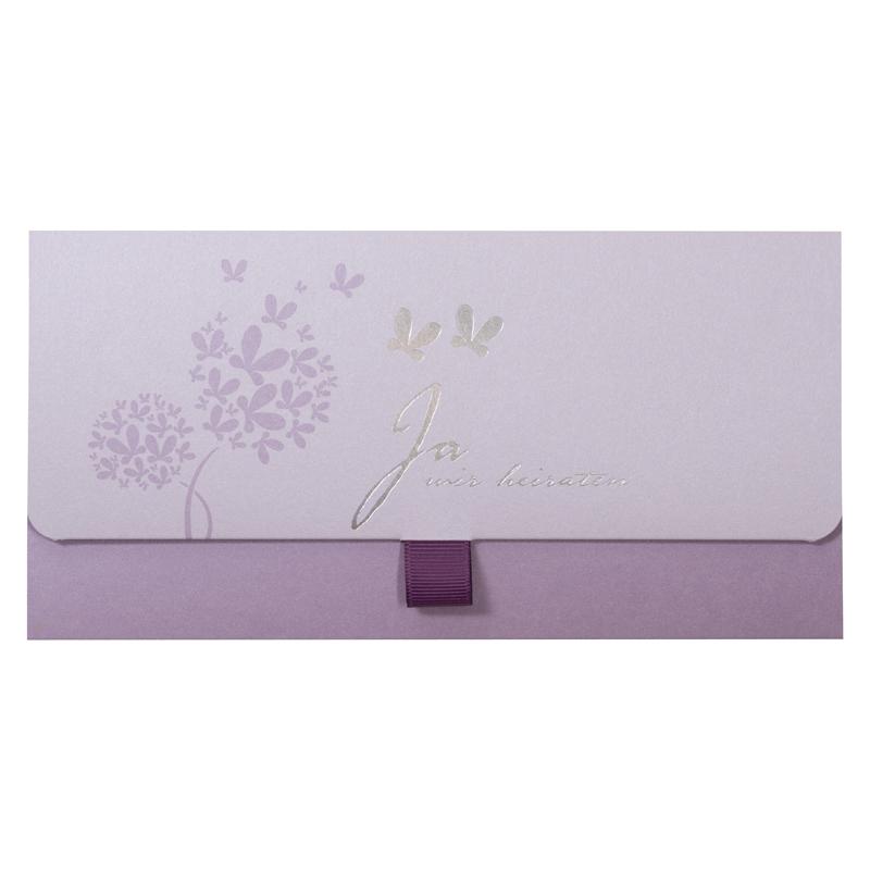 hochwertige lila hochzeitseinladungen mit text drucken. Black Bedroom Furniture Sets. Home Design Ideas
