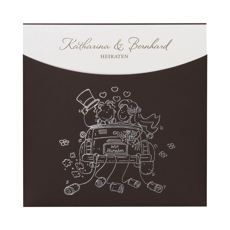 Braune Hochzeitskarte Mit Einsteckkarte Mit Comic Brautpaar