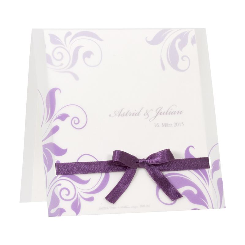 Elegante Hochzeitskarte Mit Violettem Ornament Druck Und Schleife
