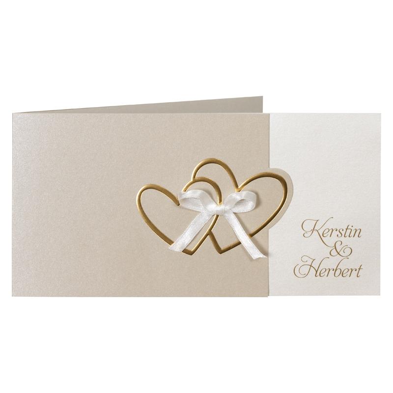Hochzeitseinladung Mit Gepragten Goldenen Herzen Und Schleife