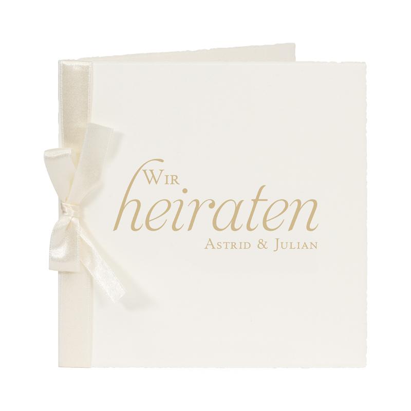 Hochzeitseinladungskarten Mit Text Auf Buttenpapier Mit Schleife