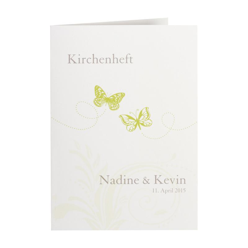 Kirchenheft Hochzeit Mit Grunen Schmetterlingen Drucken