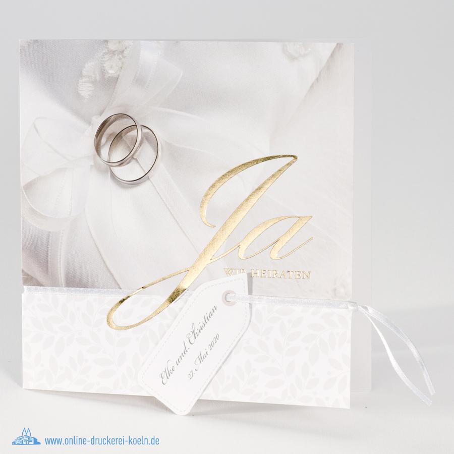 Hochzeitskarte Mit Goldfolienpragung Und Eheringen Motiv