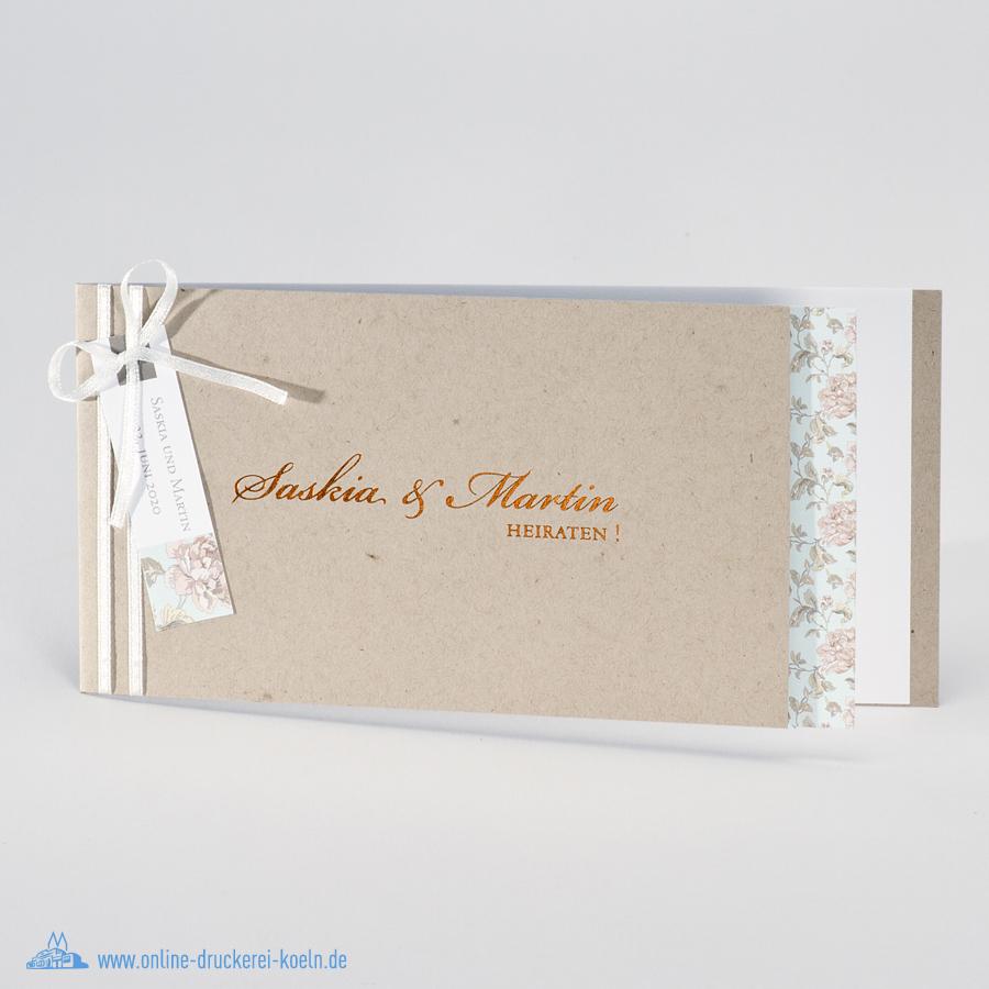 Okologische Hochzeitseinladung Mit Blumen Einleger