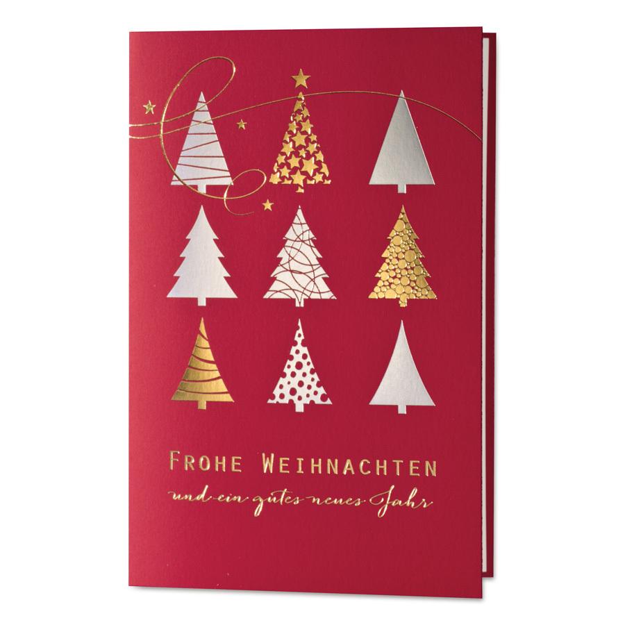 Rote Weihnachtskarten.Stilvolle Rote Weihnachtskarte Mit Silber Goldfolienprägung