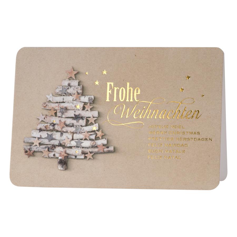 weihnachtskarte mit tannenbaum aus holz und sternen. Black Bedroom Furniture Sets. Home Design Ideas