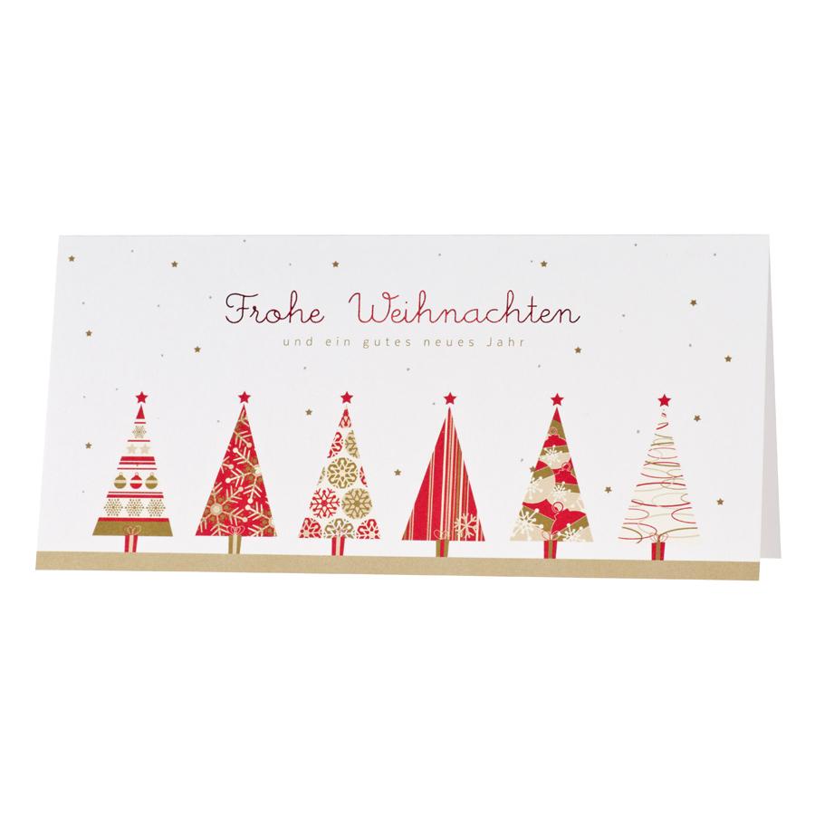 Weihnachtskarte mit stimmungsvollen roten Tannenbäumen