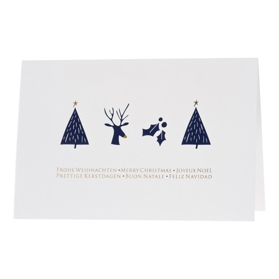 Schlichte Weihnachtskarte mit dunkelblauen Weihnachtssymbolen