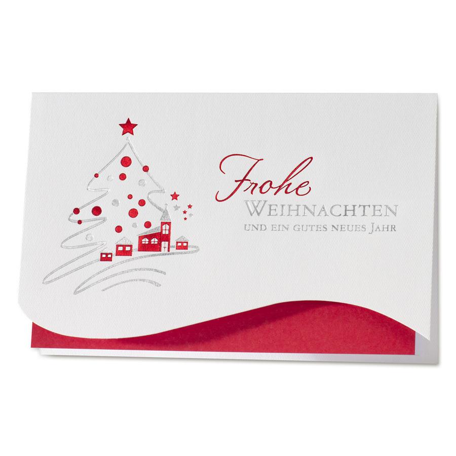 Weiße Weihnachtskarte mit Tannenbaum mit Dorfmotiv