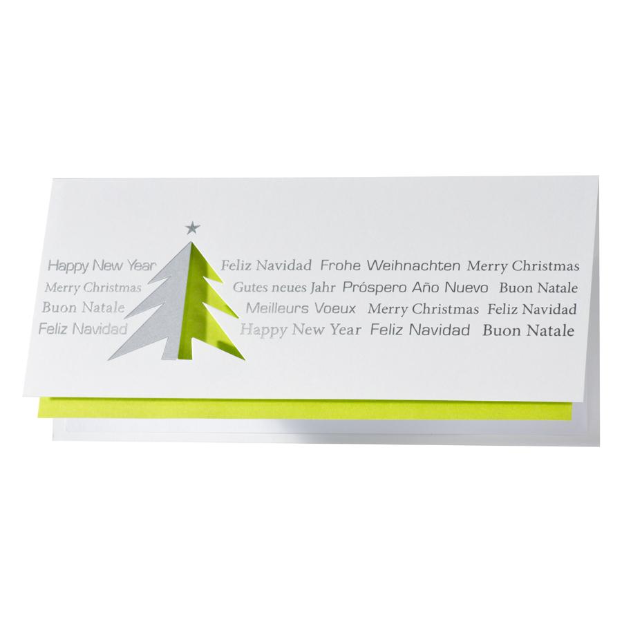 Weihnachtsgrüße Als Tannenbaum.Internationale Weihnachtsgrüße Mit Grünem Gestanztem Tannenbaum