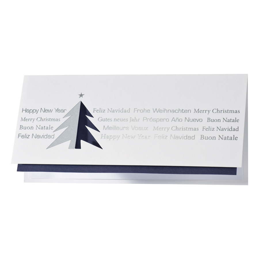Weihnachtsgrüße Als Tannenbaum.Internationale Weihnachtsgrüße Mit Blauem Gestanztem Tannenbaum