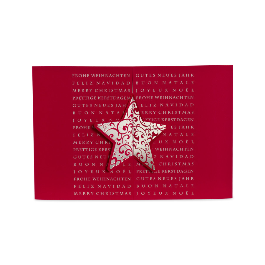 edle rote weihnachtskarte mit gestanztem stern. Black Bedroom Furniture Sets. Home Design Ideas