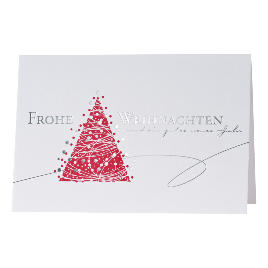 Weihnachtskarte roter tannenbaum mit silbernen weihnachtskugeln - Weihnachtskarte per mail ...