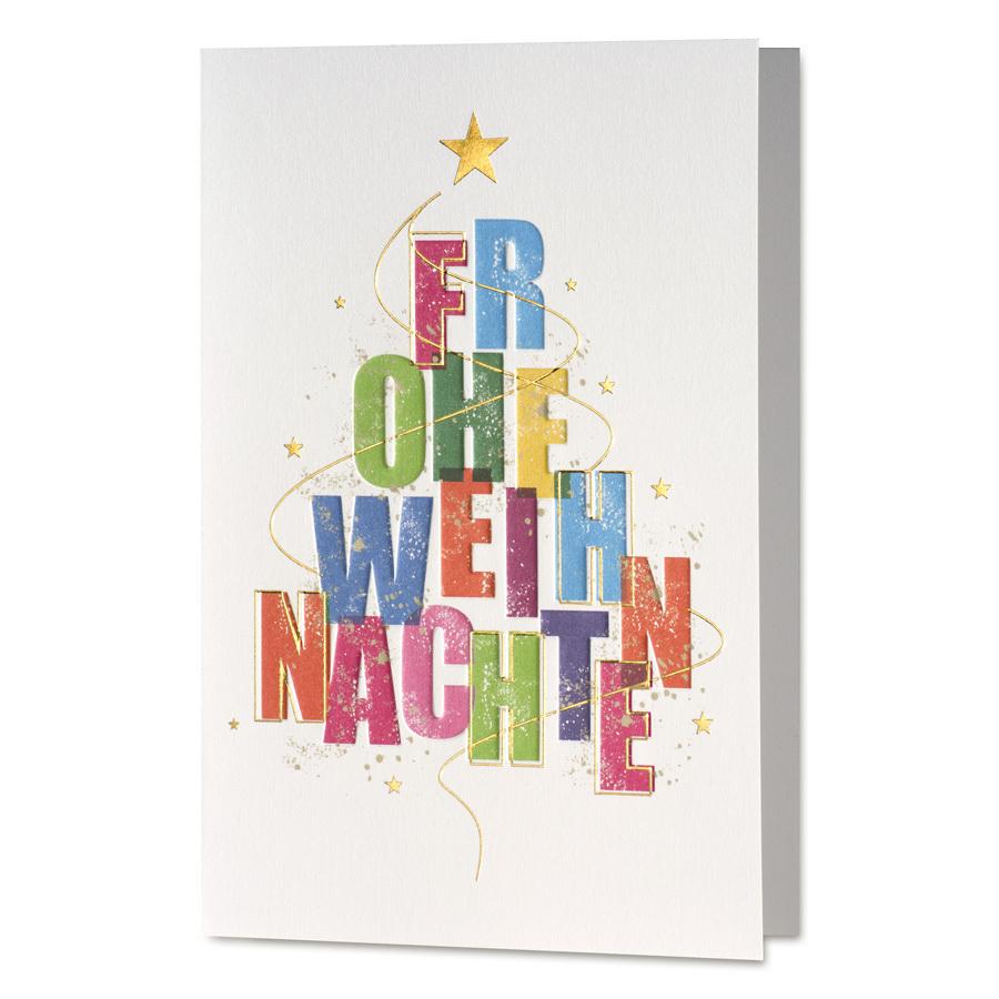 weihnachtskarte mit buntem baum der festlichen gr en. Black Bedroom Furniture Sets. Home Design Ideas