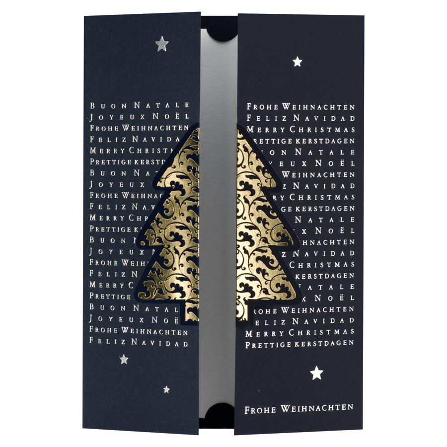 Weihnachtsgrüße Als Tannenbaum.Weihnachtskarte Mit Internationale Weihnachtsgrüße Und Gold Tannenbaum
