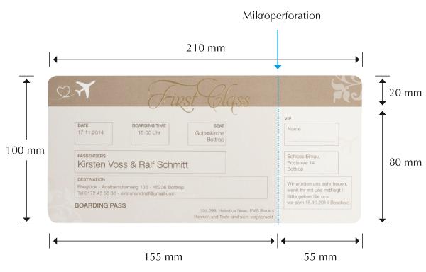 Ausgefallene Hochzeitseinladung Als Flugticket Boarding Pass